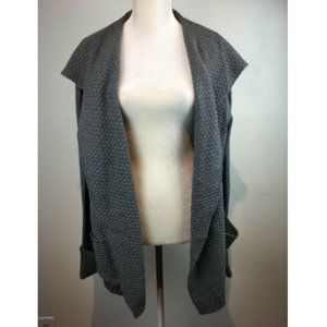 Olivia Sky 2X Gray Knitted Open Front Cardigan